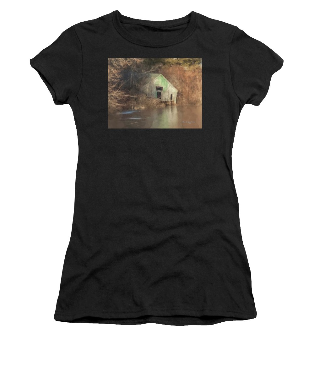 Landscape Women's T-Shirt featuring the painting Boathouse On Solstice by Bill McEntee