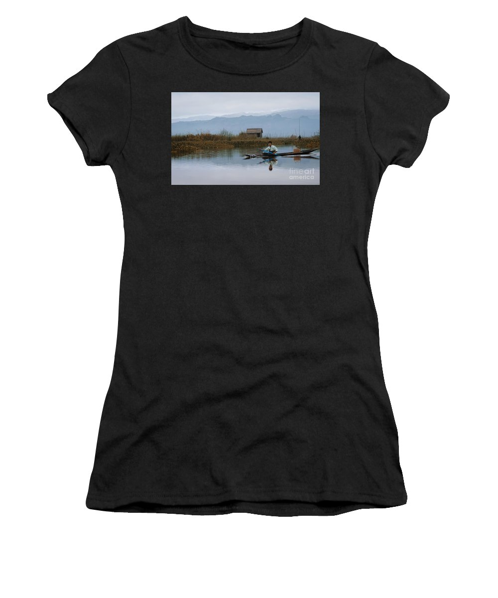 Trees Sky Sunrise Lake Sea Sunset Mountains Water Boat Reflection River Travel Blue Light Ocean Tree Beautiful Grass Green Boatman Asian Asia Asian Ethnicity Women's T-Shirt (Athletic Fit) featuring the pyrography Boatman by Artur Pirant