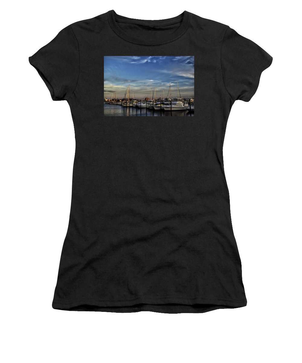 Landscape Women's T-Shirt (Athletic Fit) featuring the photograph Boats Dockyard by Dan Zarate