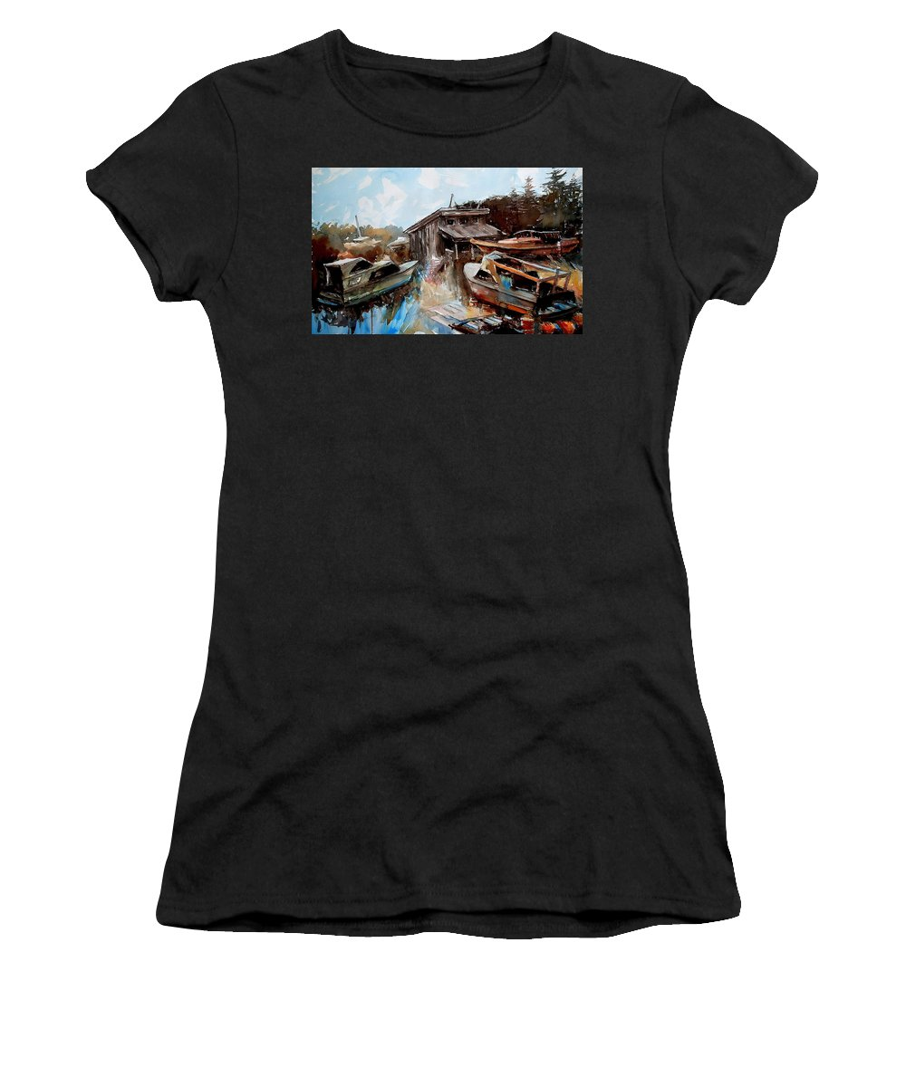 Boats House Water Women's T-Shirt featuring the painting Boats In The Slough by Ron Morrison