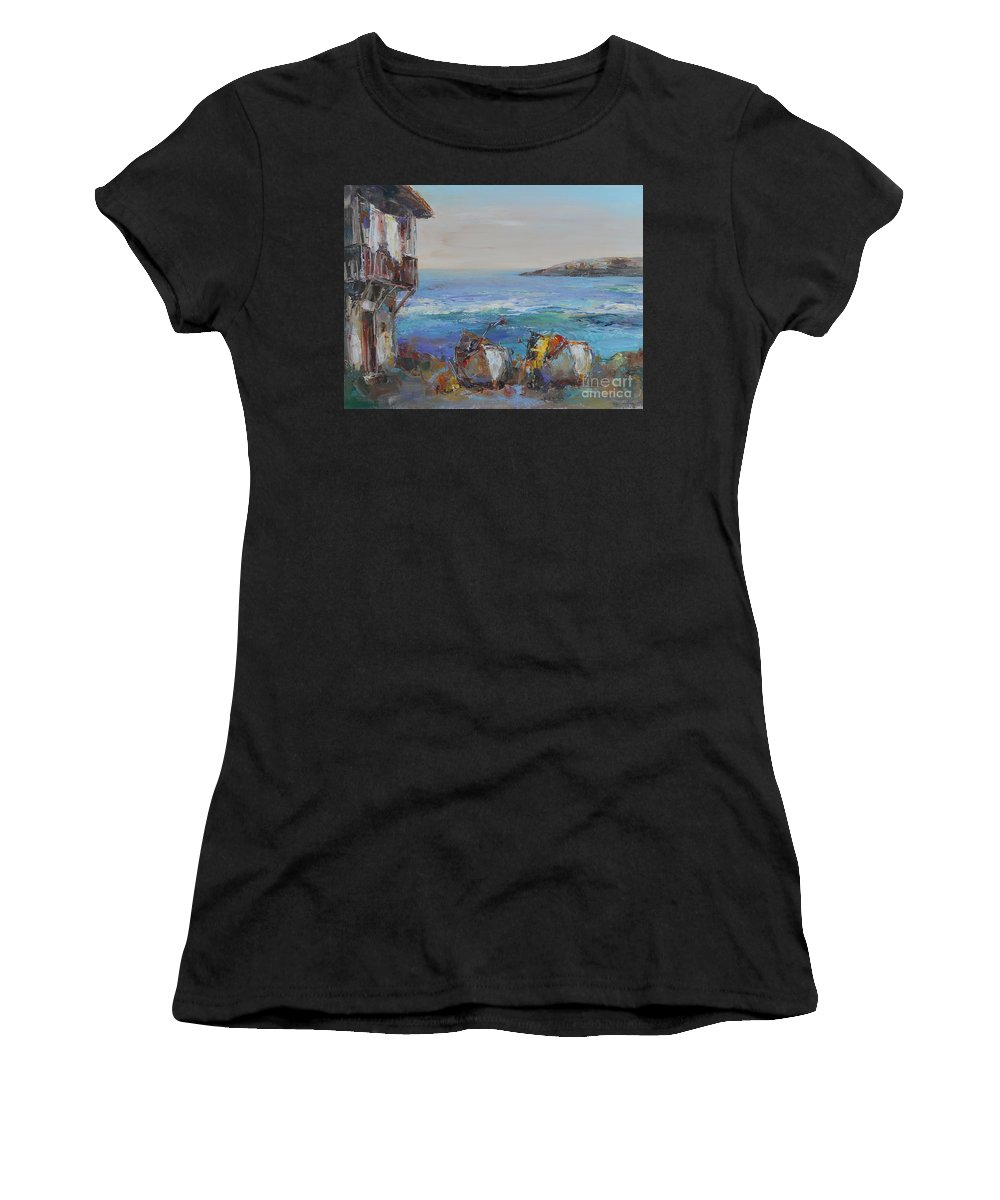 Boats Women's T-Shirt featuring the painting Boats On The Cost by Angelina Nedin