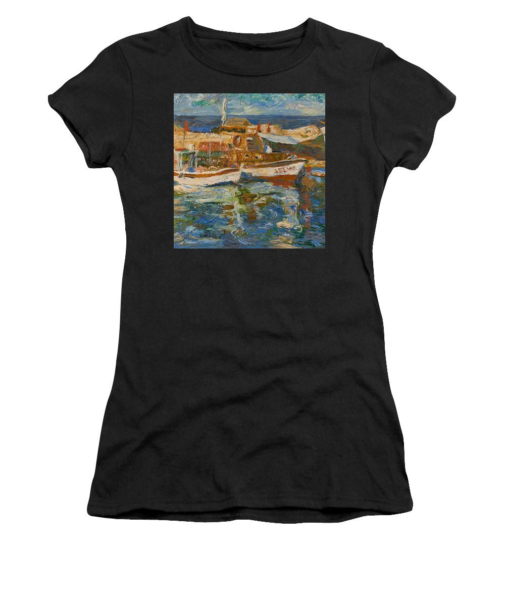 Landscape Women's T-Shirt (Athletic Fit) featuring the painting Boats by Robert Nizamov