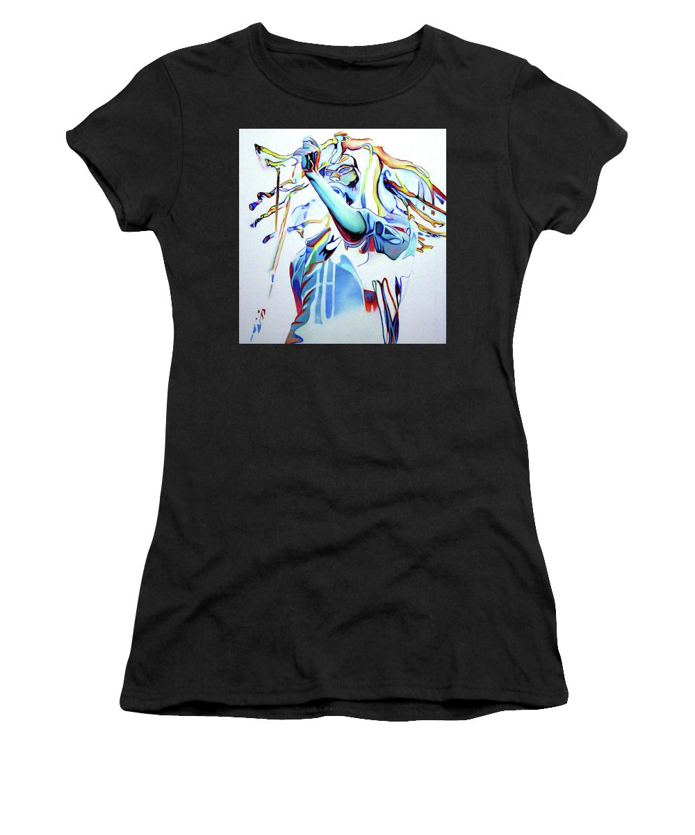 Bob Marley Women's T-Shirt (Athletic Fit) featuring the painting Bob Marley Colorful by Joshua Morton