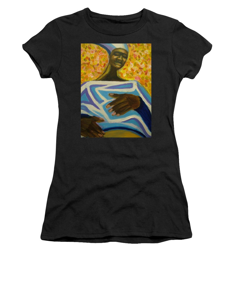 Painting Women's T-Shirt (Athletic Fit) featuring the painting Bongo Man II by Jan Gilmore