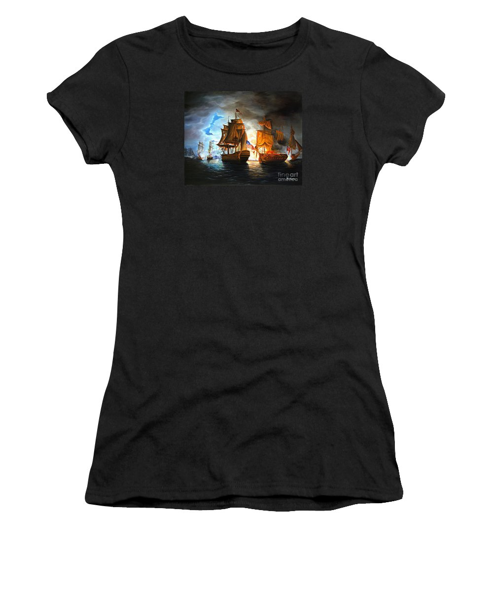 Naval Battle Women's T-Shirt (Athletic Fit) featuring the painting Bonhomme Richard Engaging The Serapis In Battle by Paul Walsh