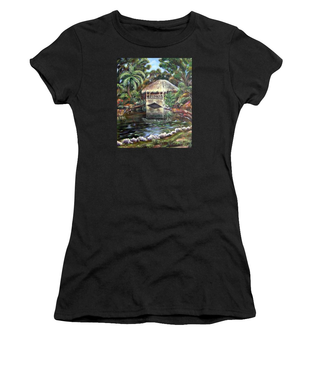 Bonnet House Women's T-Shirt featuring the painting Bonnet House Chickee by Patricia Piffath