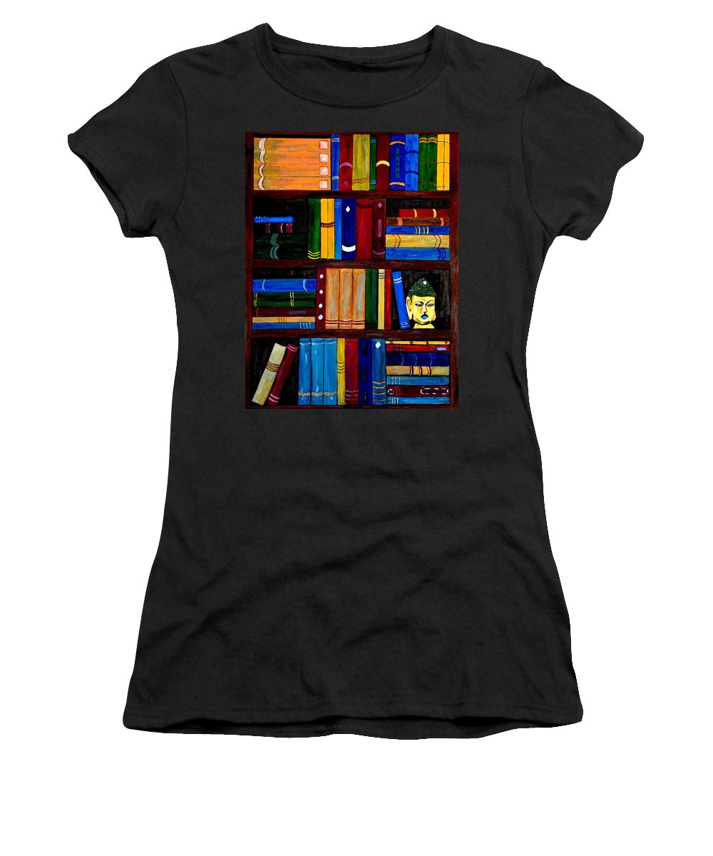 Bookcase Women's T-Shirt featuring the painting Bookcase by Aat Kuijpers