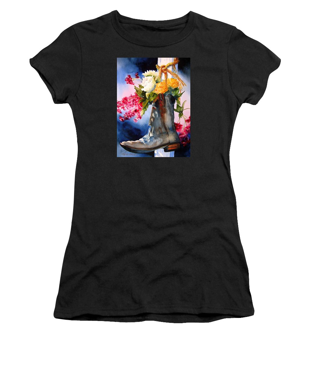 Cowboy Women's T-Shirt (Athletic Fit) featuring the painting Boot Bouquet by Karen Stark