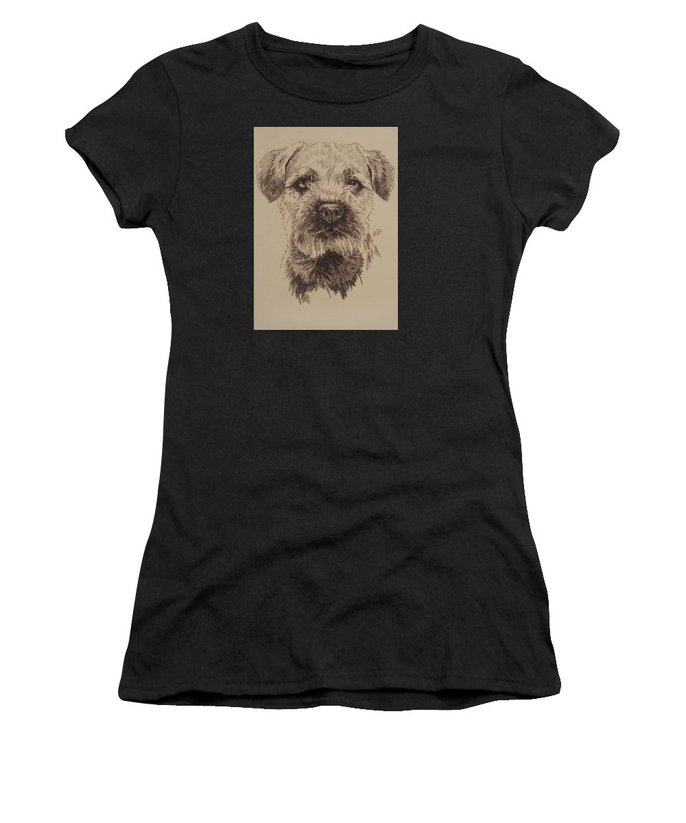 Art Women's T-Shirt (Athletic Fit) featuring the drawing Border Terrier by Barbara Keith