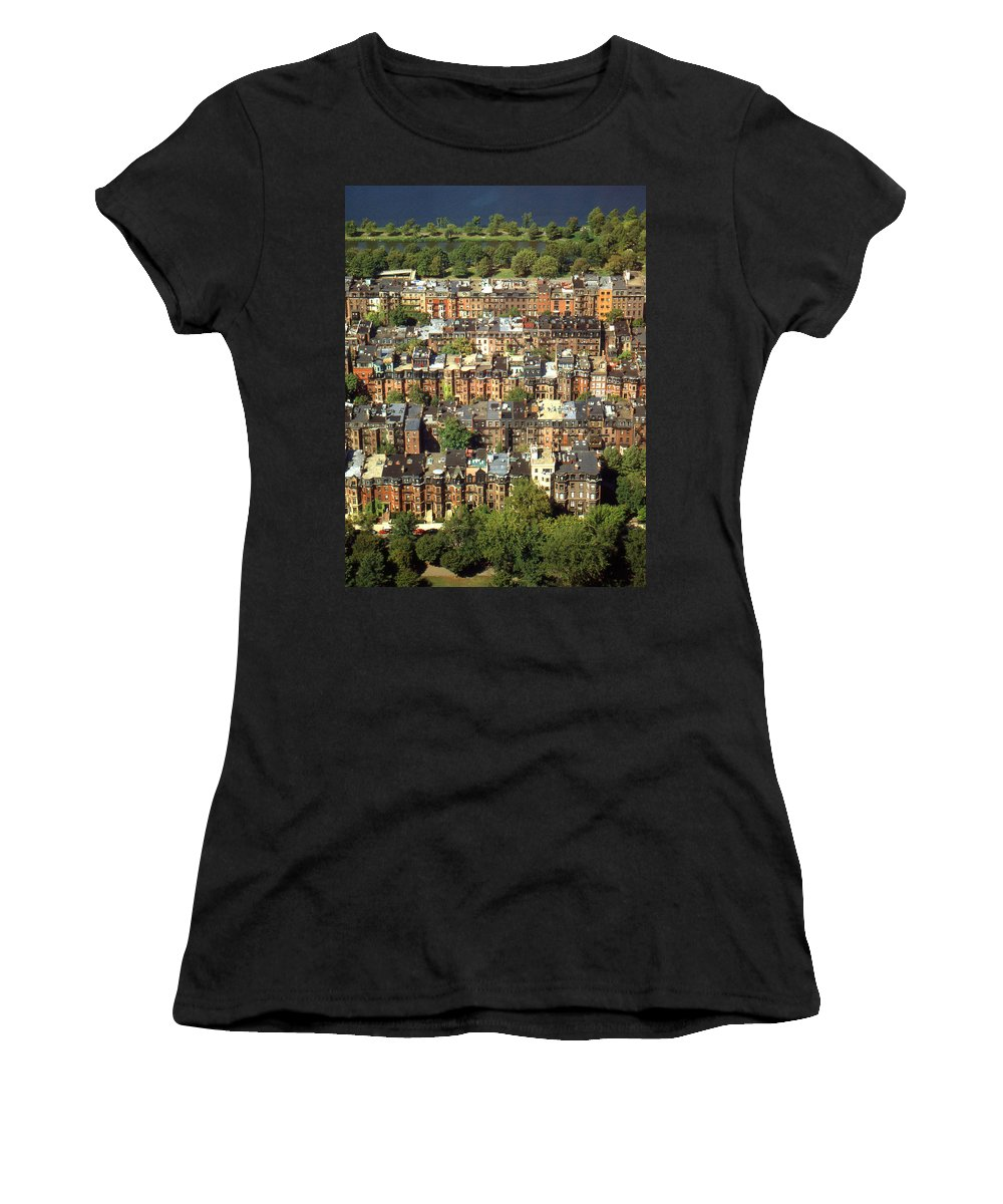 Boston Women's T-Shirt (Athletic Fit) featuring the photograph Boston Brownstone Architecture by Peter Potter