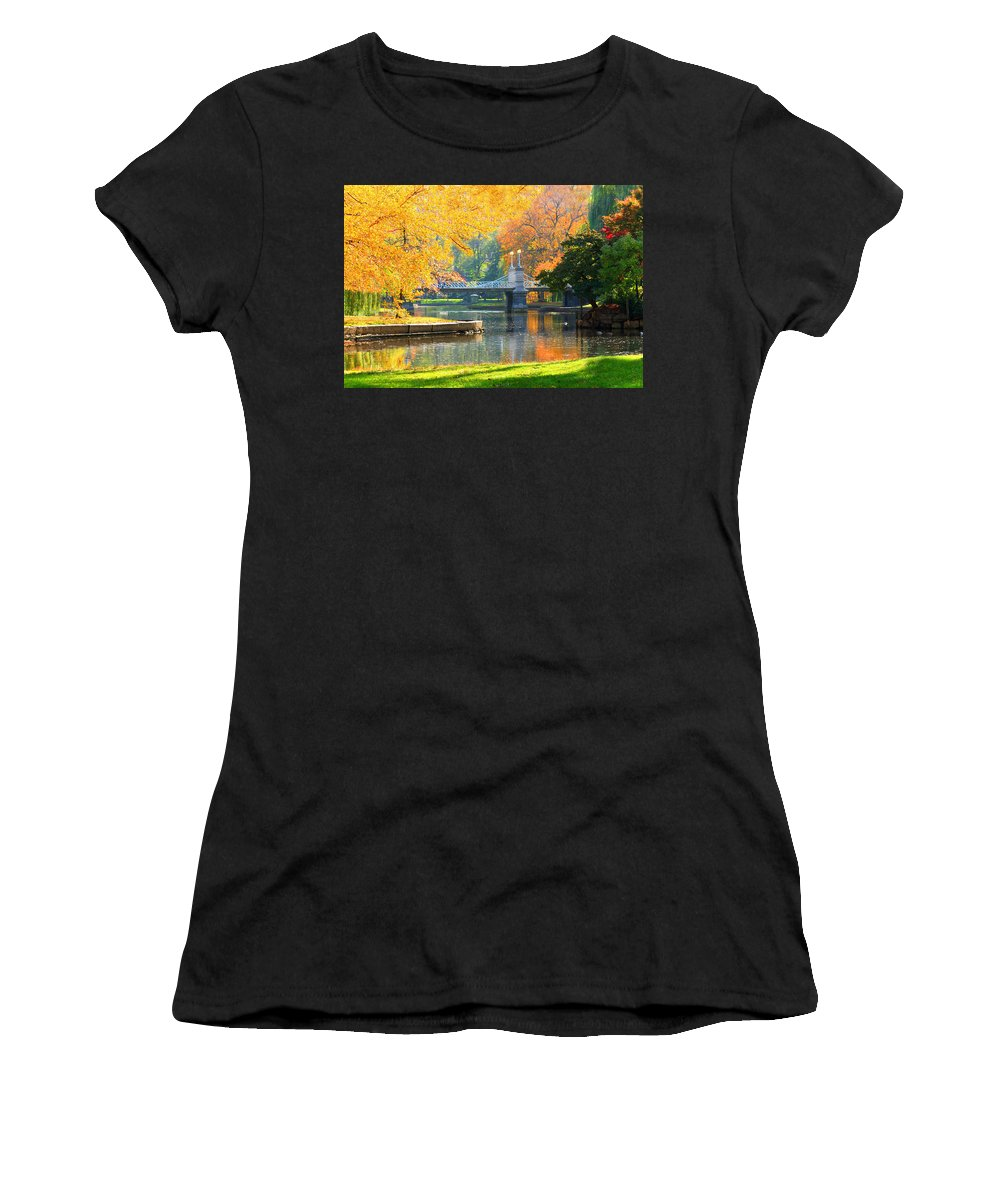 Boston Common Women's T-Shirt (Athletic Fit) featuring the photograph Fall Season At Boston Common by Louis Rivera
