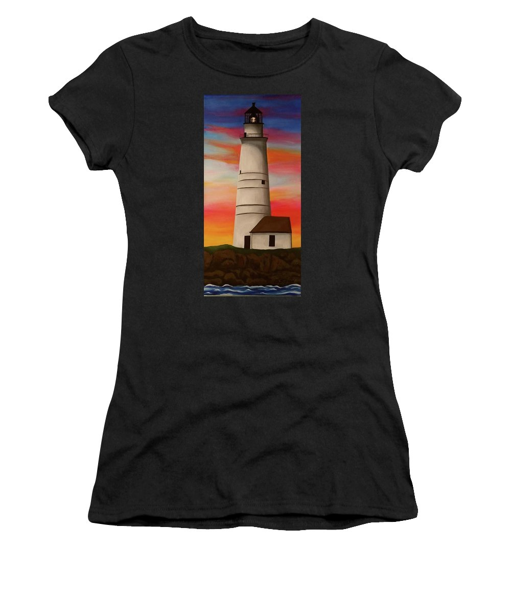 Lighthouse Women's T-Shirt (Athletic Fit) featuring the painting Boston Light by Liz Boston