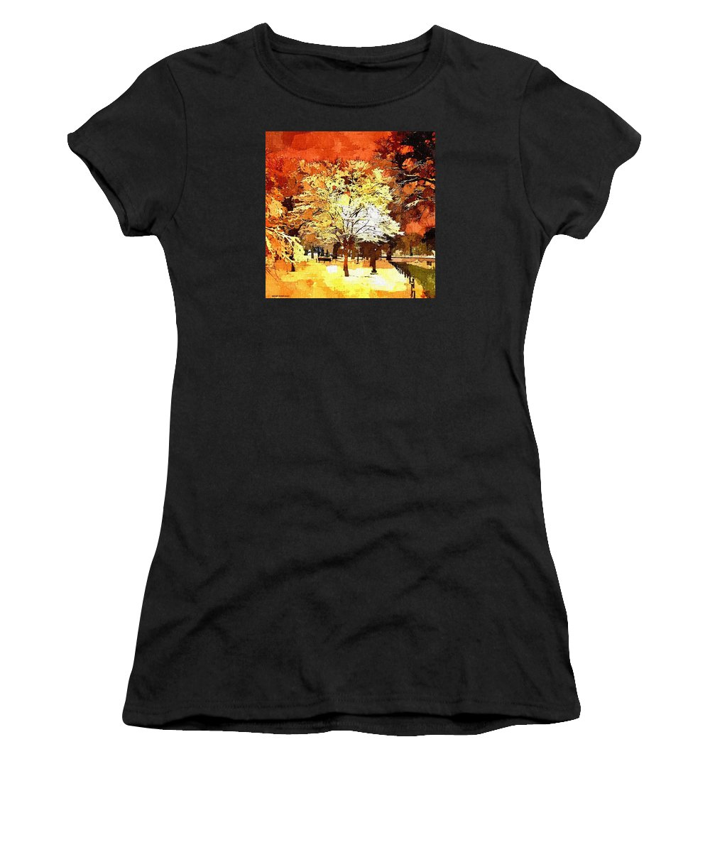 Impressionist Women's T-Shirt (Athletic Fit) featuring the painting Boston Winter by Rachel Niedermayer