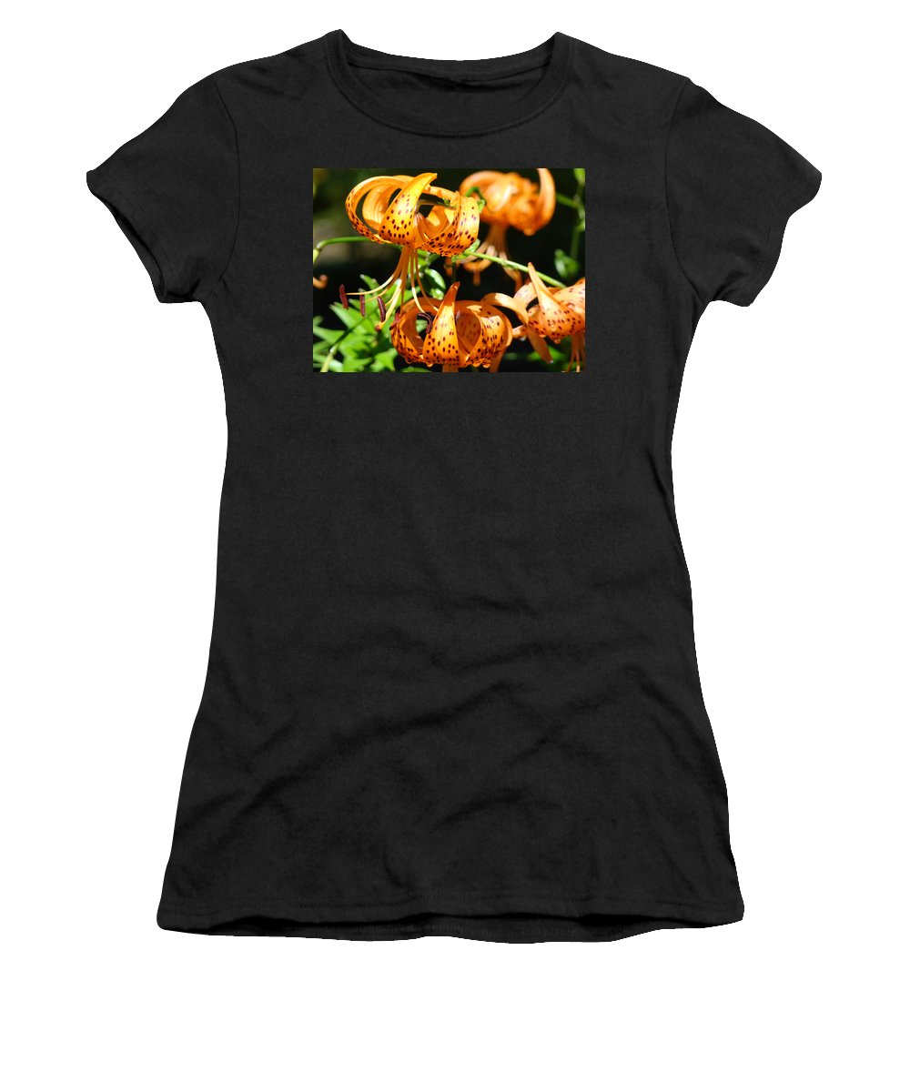 Lilies Women's T-Shirt (Athletic Fit) featuring the photograph Botanical Art Prints Orange Tiger Lilies Master Gardener Baslee Troutman by Baslee Troutman