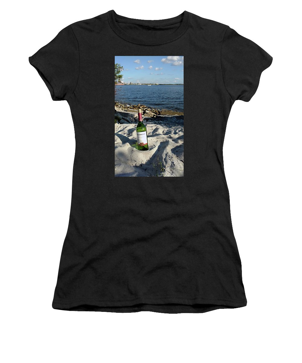 Mighty Sight Studio Women's T-Shirt (Athletic Fit) featuring the photograph Bottled Beach by Steve Sperry