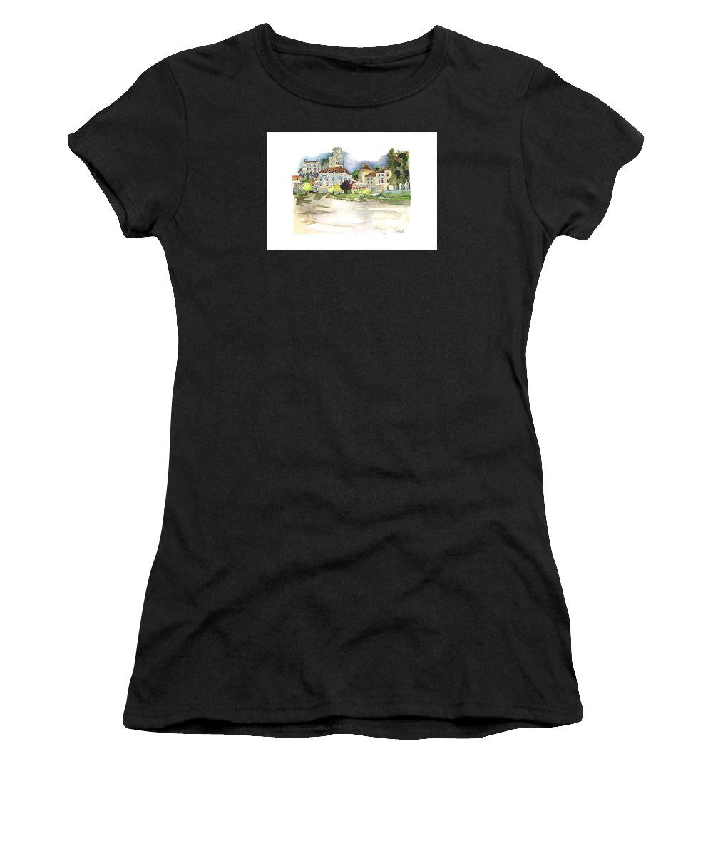 French Countryside Women's T-Shirt (Athletic Fit) featuring the painting Bourdeilles, On The River Dronne, Dordogne by Joan Cordell