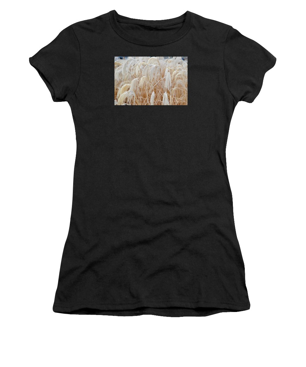 Plants Women's T-Shirt featuring the photograph Bowing To Snow by Jim Schlottman