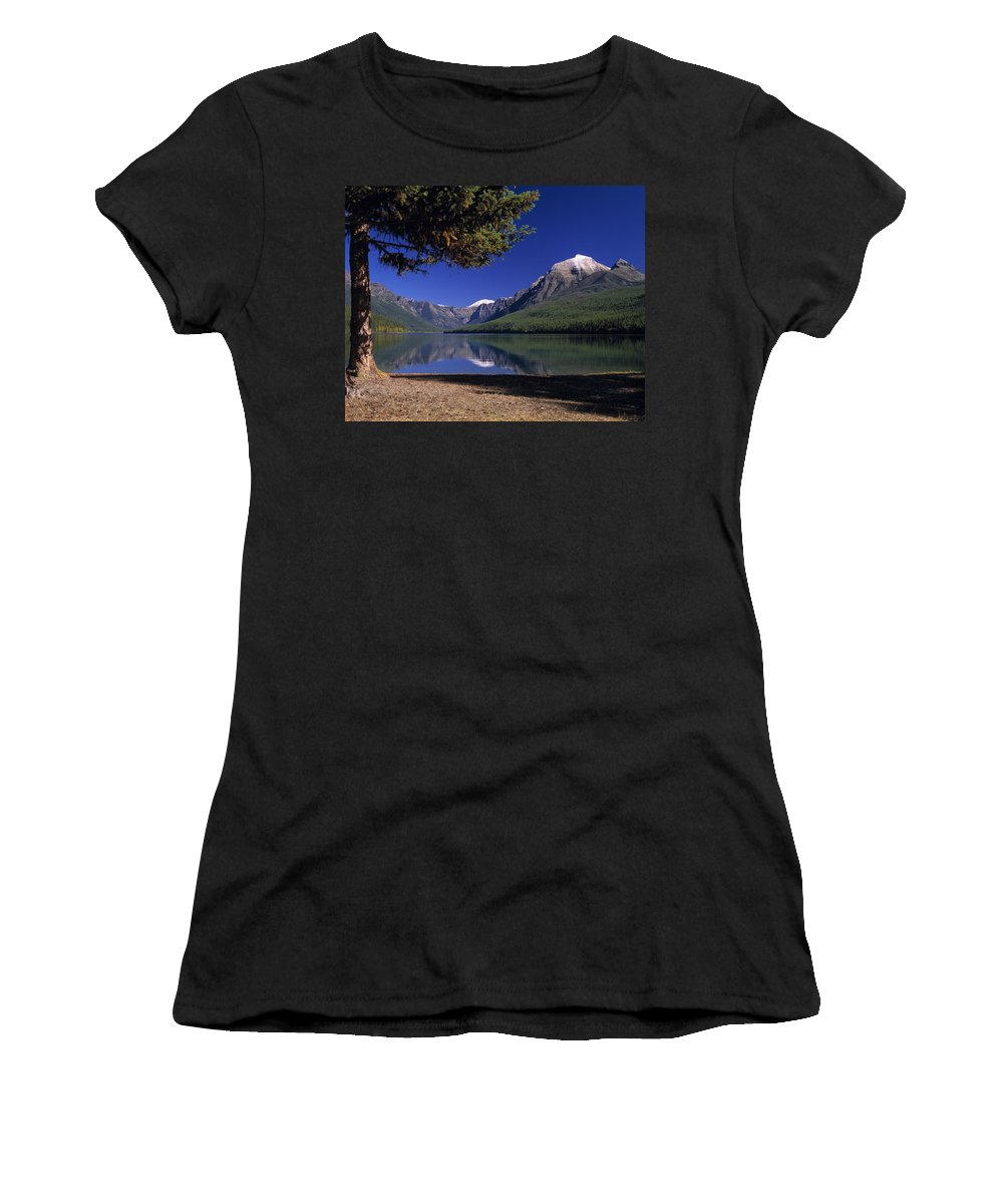 Bowman Lake Women's T-Shirt (Athletic Fit) featuring the photograph Bowman Lake by Leland D Howard