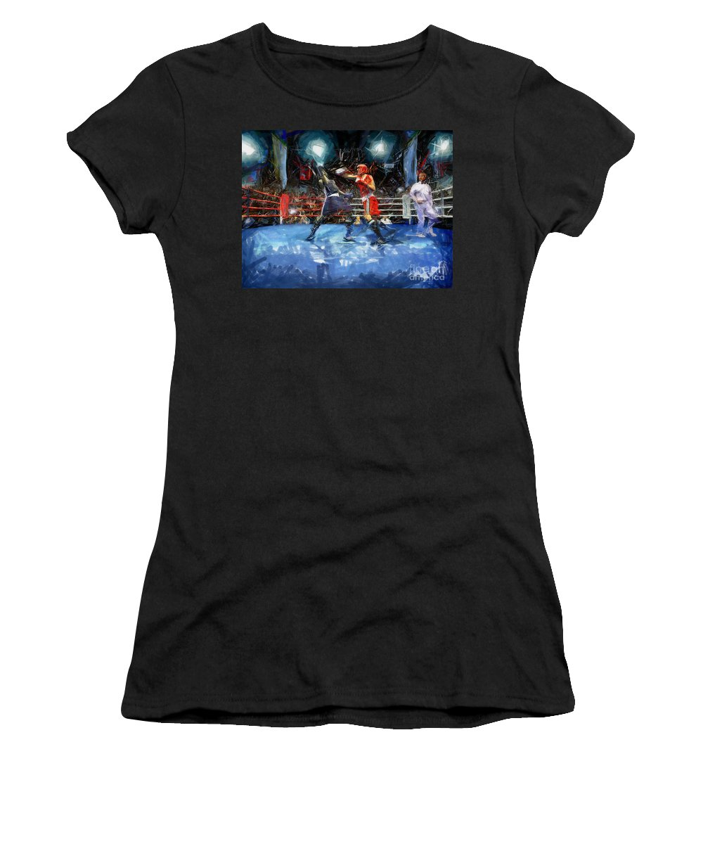 Boxing Women's T-Shirt (Athletic Fit) featuring the painting Boxing Night by Murphy Elliott