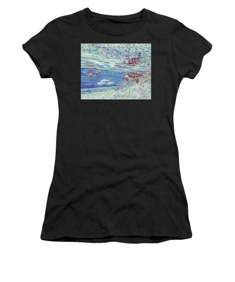 Ocean Women's T-Shirt (Athletic Fit) featuring the painting Boy Meets Girl by Danielle Perry