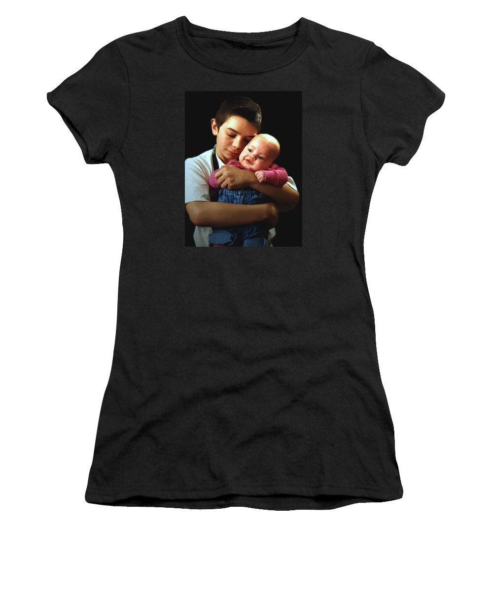 Children Women's T-Shirt (Athletic Fit) featuring the photograph Boy With Bald-headed Baby by RC DeWinter