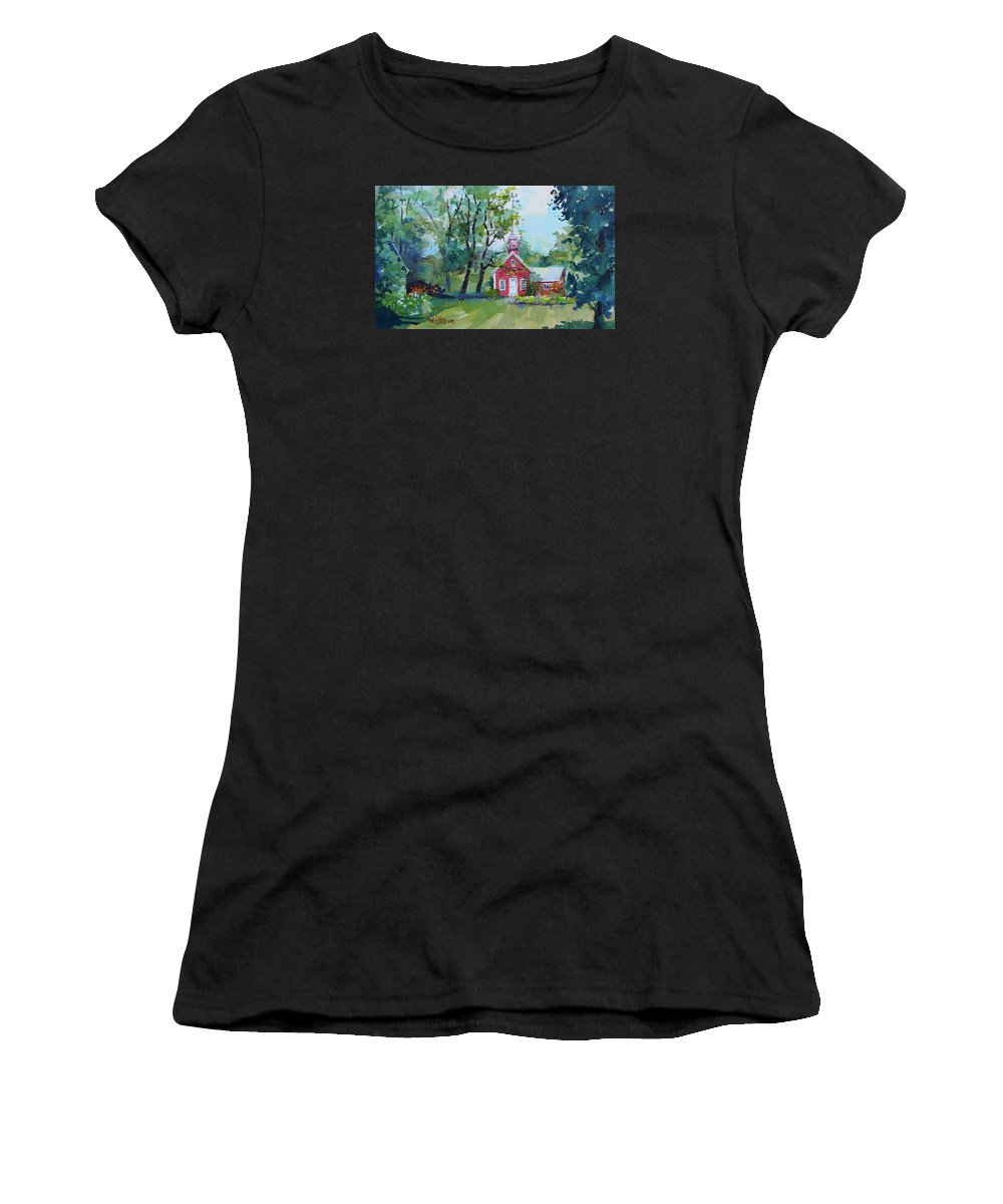 Vermont Women's T-Shirt (Athletic Fit) featuring the painting Boyton Road Schoolhouse by Diane Bell