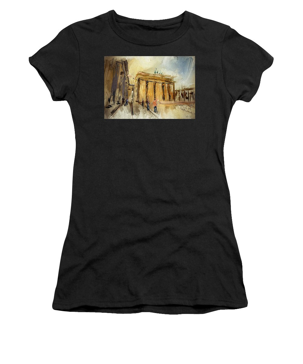 Brigitte Harper Women's T-Shirt featuring the painting Brandenburg Gate by Brigitte Harper