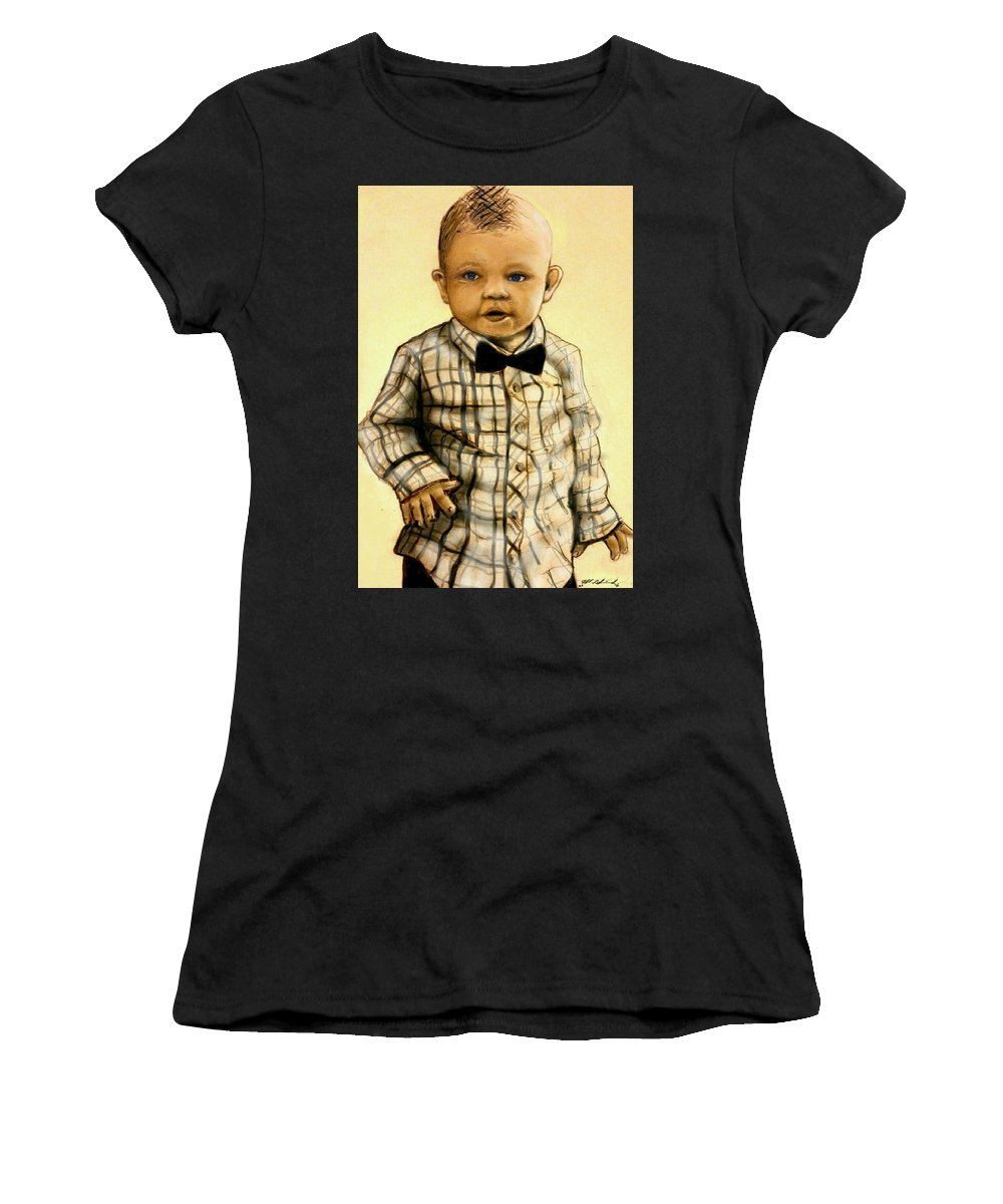 Women's T-Shirt featuring the mixed media Brayden Christopher Stratton by Michael Schimank