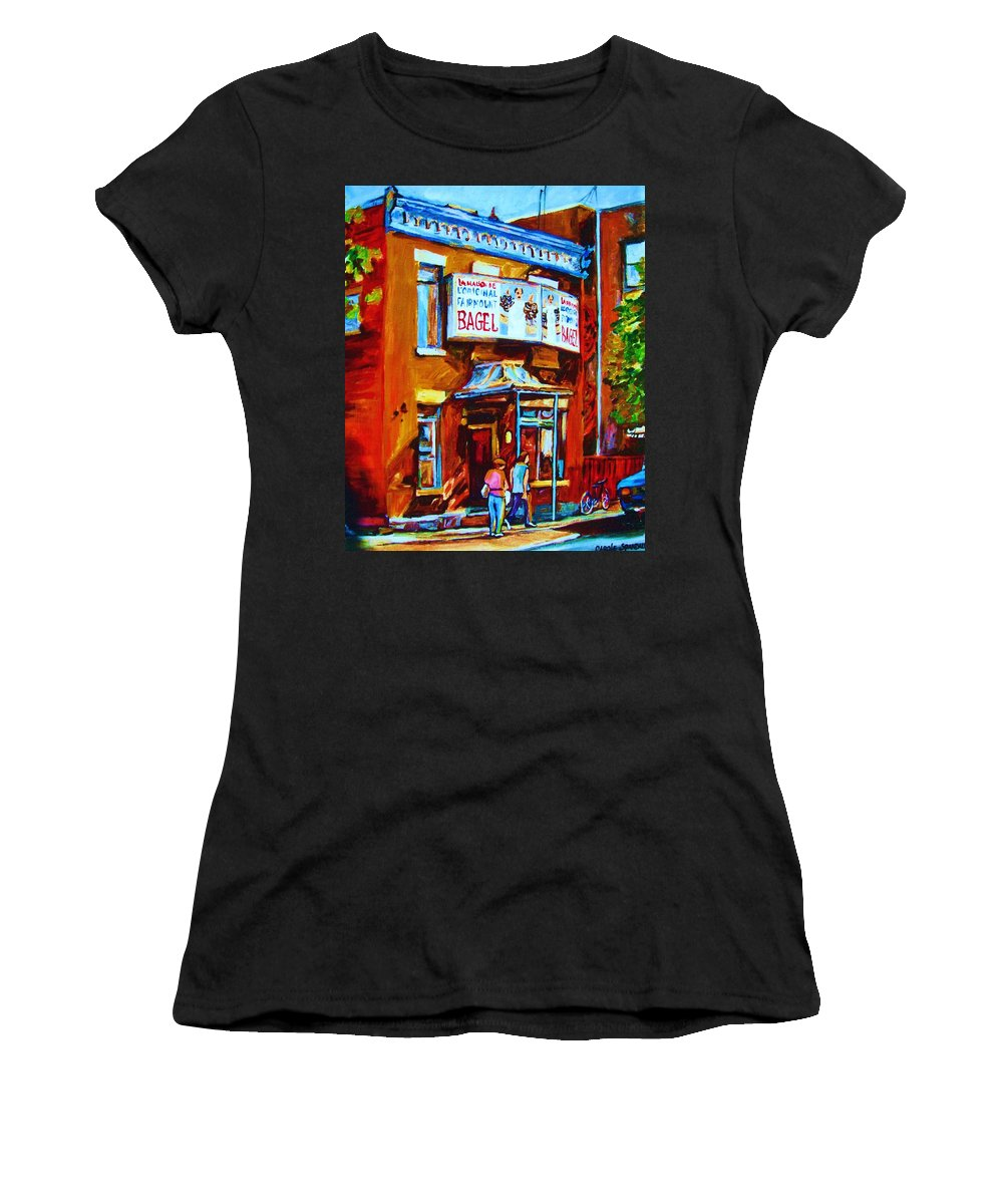 Fairmount Bagel Women's T-Shirt (Athletic Fit) featuring the painting Breakfast At The Bagel Cafe by Carole Spandau