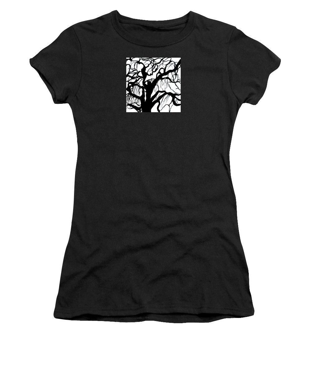 Black And White Women's T-Shirt (Athletic Fit) featuring the painting Breeze by Leila Atkinson