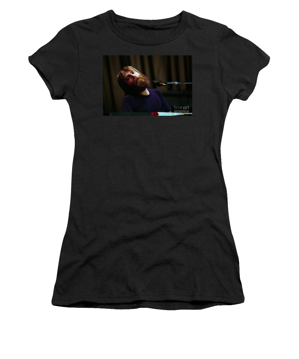 Brent Mydland Women's T-Shirt (Athletic Fit) featuring the photograph Brent Mydland Grateful Dead Alpine Valley 1987 by Ray Manning