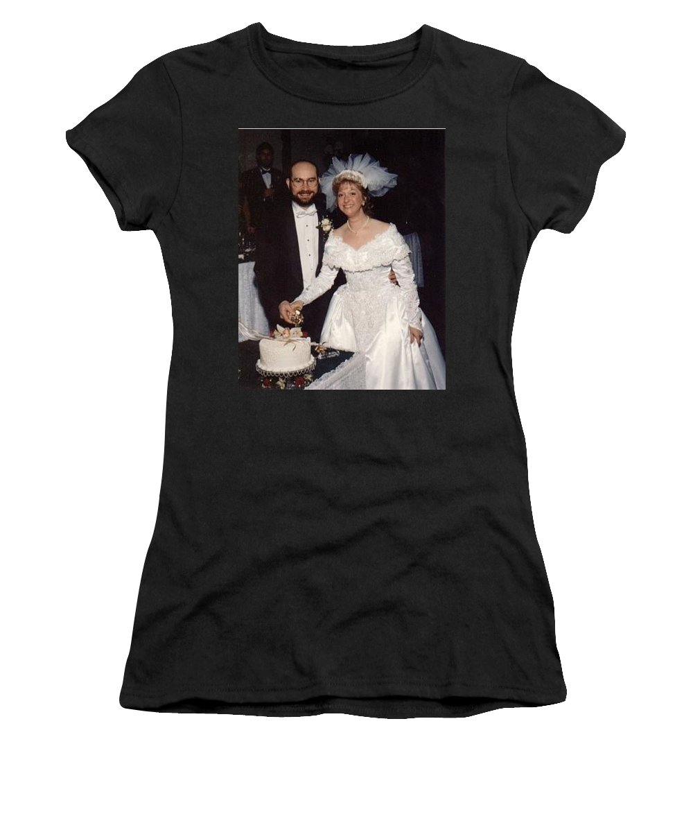 Wedding Women's T-Shirt (Athletic Fit) featuring the photograph Bride And Groom by John Graziani