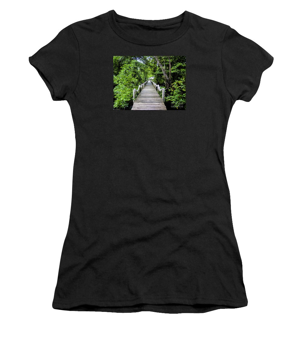 Coral Women's T-Shirt (Athletic Fit) featuring the photograph Bridge In Kosrae by Dan Norton