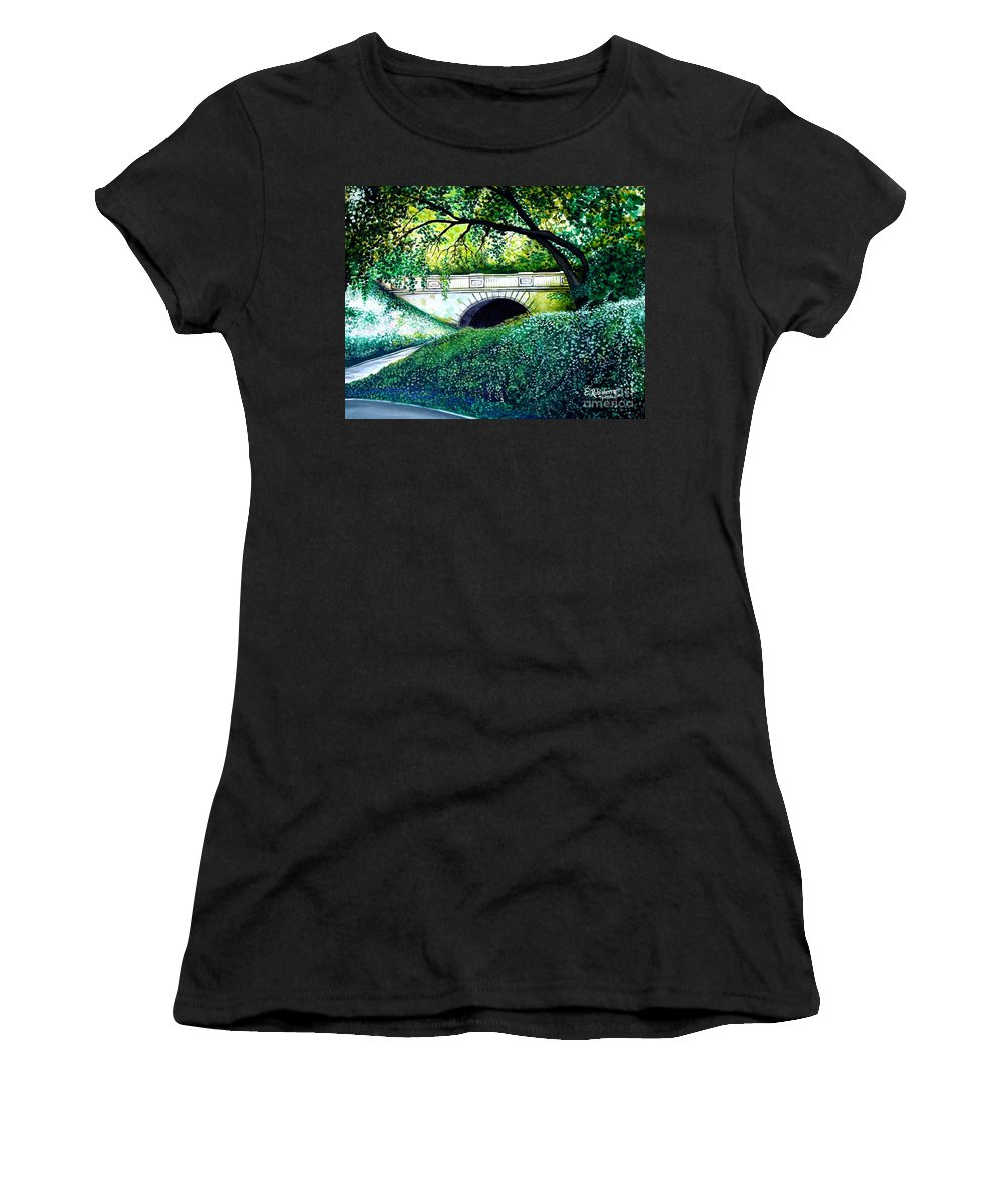 Landscape Women's T-Shirt (Athletic Fit) featuring the painting Bridge To New York by Elizabeth Robinette Tyndall