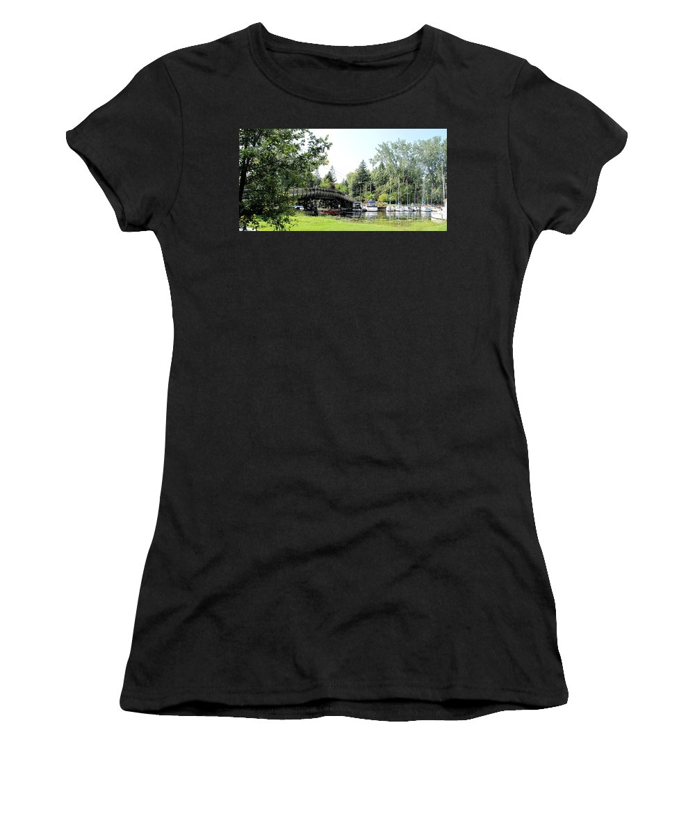 Yahcts Women's T-Shirt featuring the photograph Bridge To The Club by Ian MacDonald