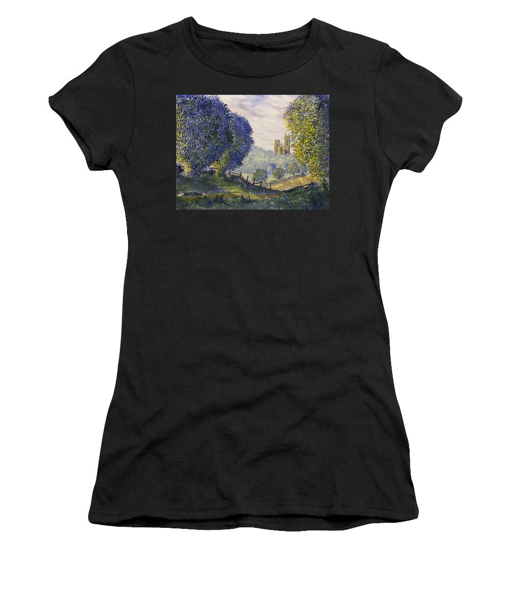 Glenn Marshall Yorkshire Artist Women's T-Shirt featuring the painting Bridlington Priory From Woldgate On The Hockney Trail by Glenn Marshall