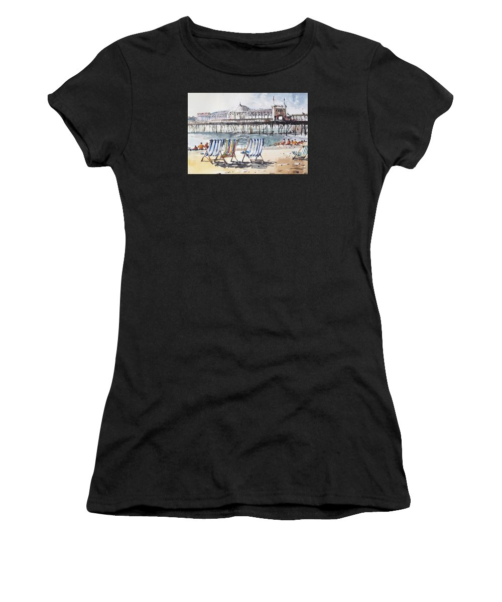 Brighton Women's T-Shirt (Athletic Fit) featuring the painting Brighton England by Tony Belobrajdic