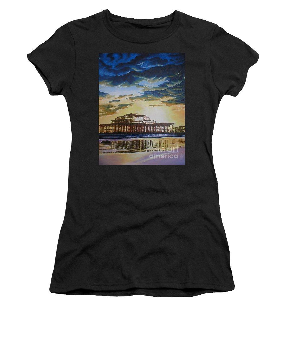 Brighton West Pier Derelict Victorian Sad Beach Sand Sunset Women's T-Shirt (Athletic Fit) featuring the painting Brighton West Pier by Pauline Sharp