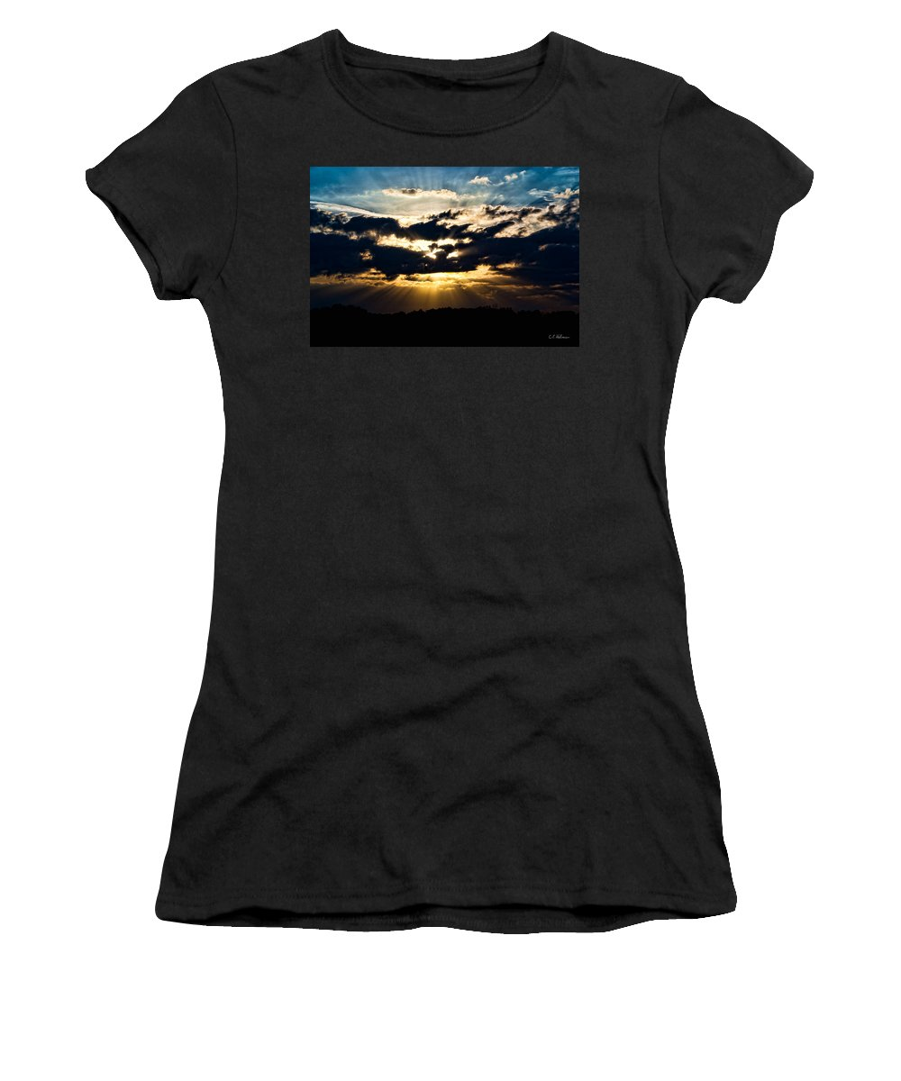 Nature Women's T-Shirt (Athletic Fit) featuring the photograph Brilliant Sunset by Christopher Holmes