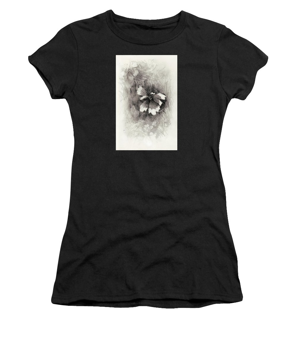 Nature Women's T-Shirt (Athletic Fit) featuring the drawing Broken Blossom by Rachel Christine Nowicki
