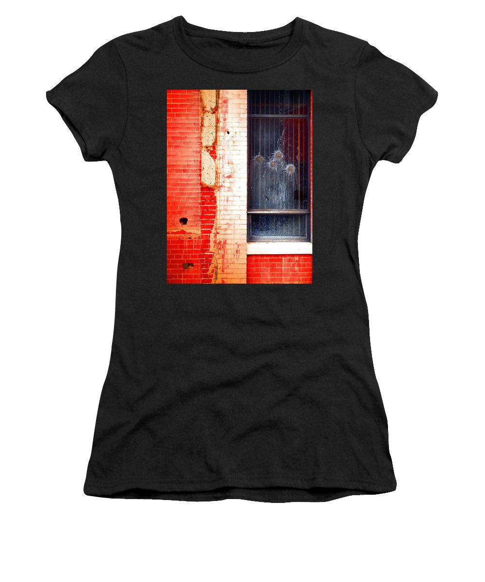 Glass Women's T-Shirt (Athletic Fit) featuring the photograph Broken Glass Like Flowers by Tara Turner