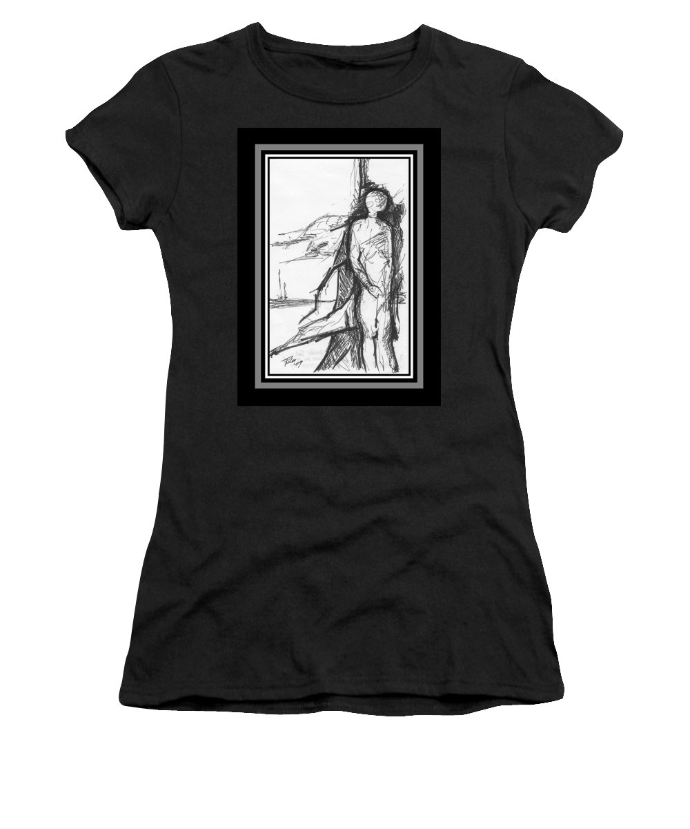Sail Women's T-Shirt (Athletic Fit) featuring the drawing Broken Sail by PAOLO Bianchi