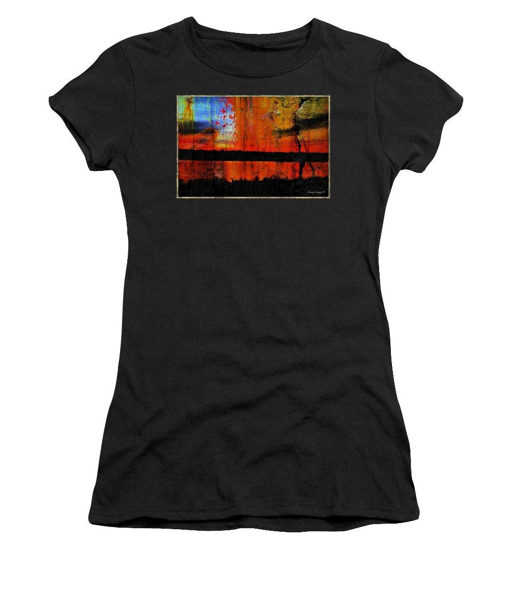 Women's T-Shirt featuring the digital art Broken View by Wesley Nesbitt