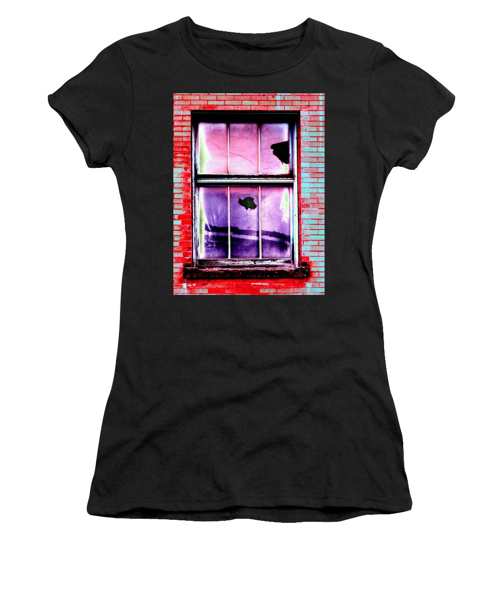 Window Women's T-Shirt (Athletic Fit) featuring the photograph Broken Window by Tim Allen