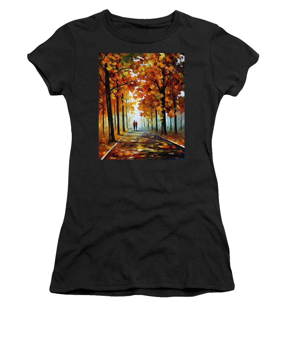 Afremov Women's T-Shirt featuring the painting Bronze Fall by Leonid Afremov