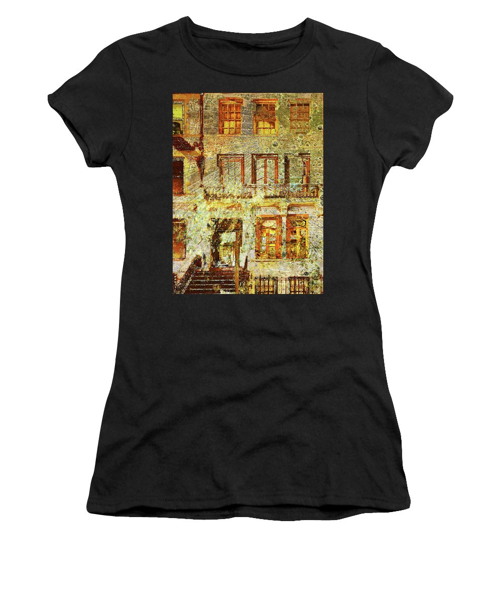 Front Women's T-Shirt (Athletic Fit) featuring the mixed media West Side Van Gogh by Tony Rubino