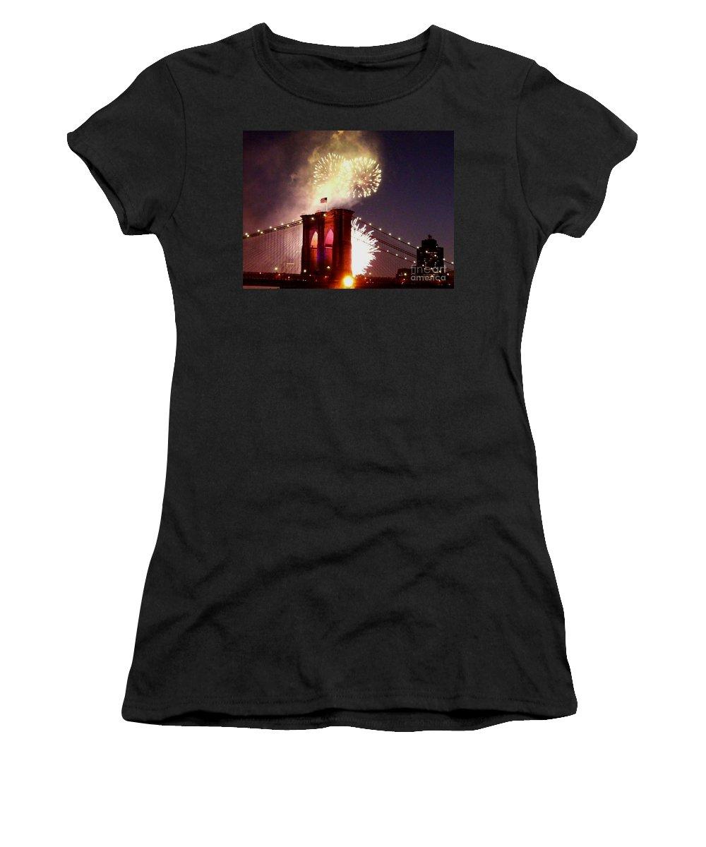 Brooklyn-bridge Women's T-Shirt featuring the photograph Brooklyn Bridge Celebration by Kendall Eutemey