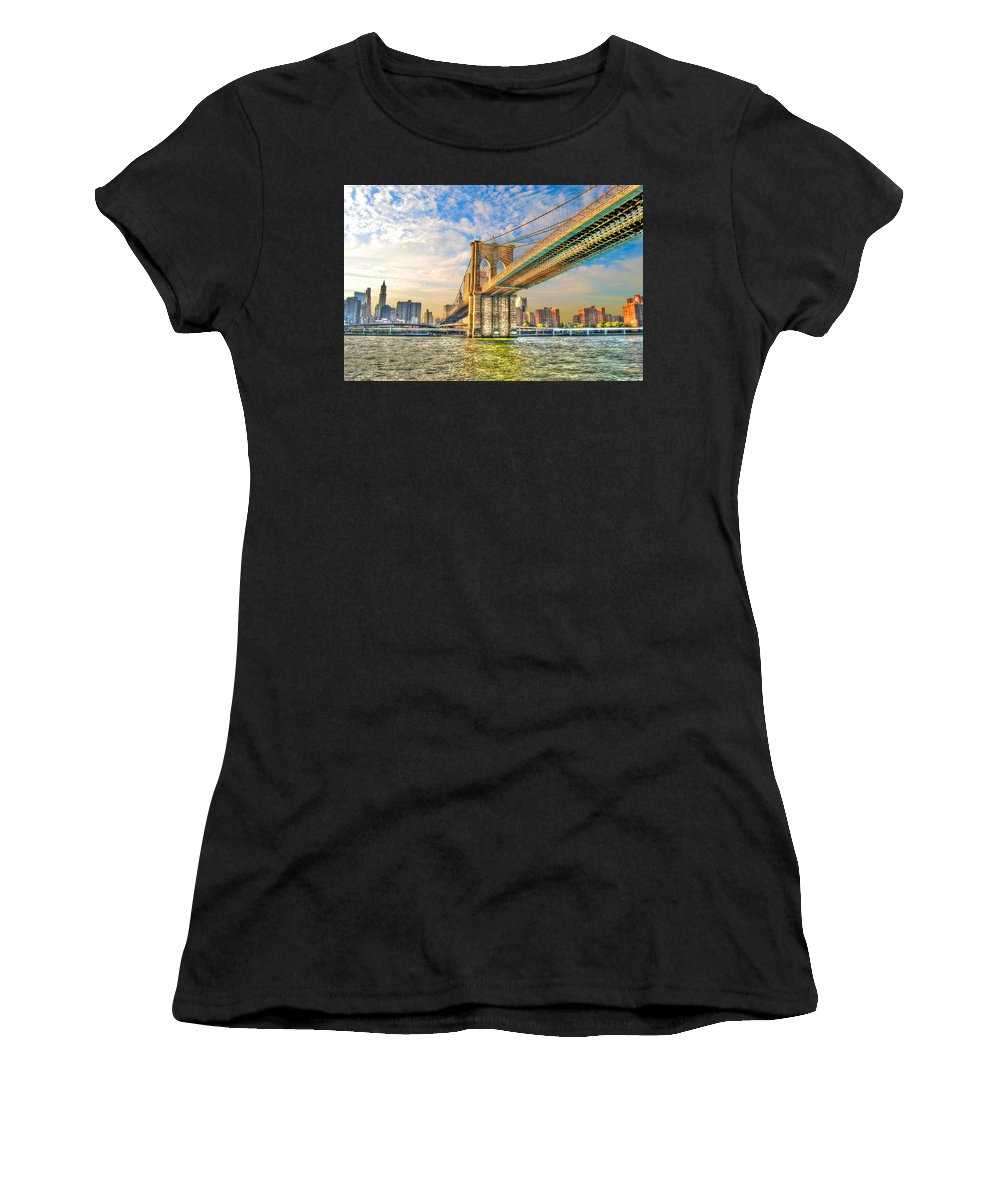 Brooklyn Bridge Women's T-Shirt (Athletic Fit) featuring the photograph Brooklyn Bridge by Randy Aveille