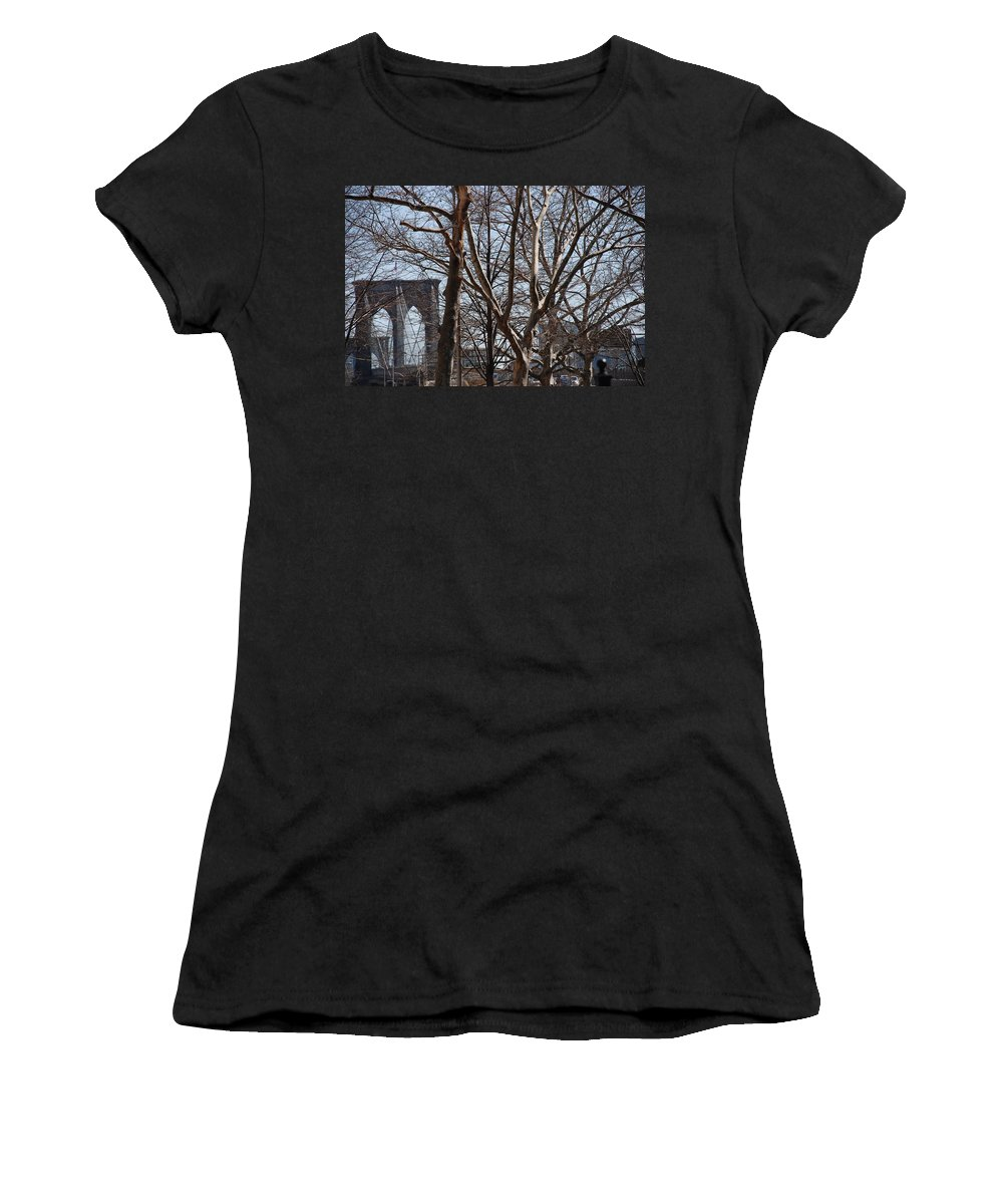 Architecture Women's T-Shirt (Athletic Fit) featuring the photograph Brooklyn Bridge Thru The Trees by Rob Hans