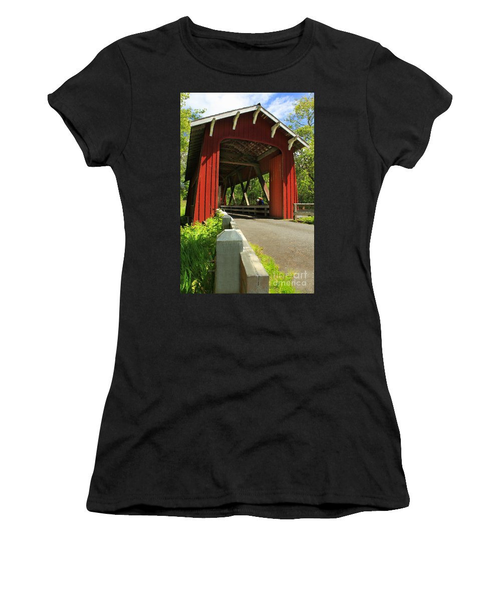 Covered Bridge Women's T-Shirt (Athletic Fit) featuring the photograph Brookwood Covered Bridge by James Eddy